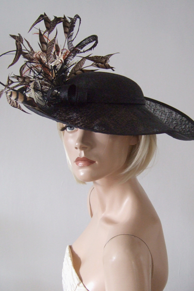 Black Half Hat with Pheasant Feathers. Ascot Hat Hire