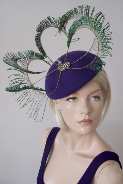 Bundle Maclaren Purple Peacock Hat for Hire. Ascot Hat Hire, Hats for Royal Ascot, London Hat Hire