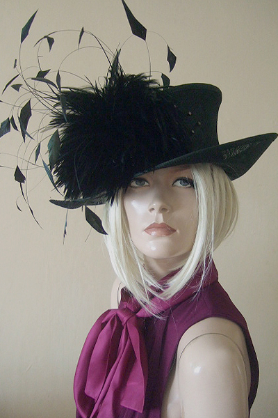 Small Brim Black Feathered Hat. Hats for Royal Ascot