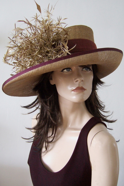 Gold Burgundy Mother of The Bride Hat Hire, Wedding Hat Hire