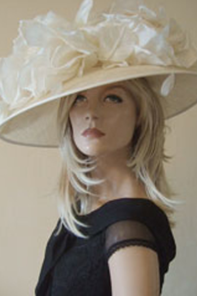 ivory down slope brim Ascot Hat. Mother of the Bride Hat. Hats for the Races