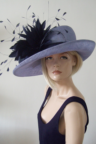 Lavender and Navy Blue Hat for Hire, Ascot Hats. Hat Hire Berkshire