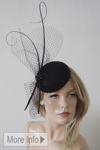Small Black Fascinators for Hire, Beaded Black Cocktail Hat, www.dress-2-impress.com Black Fascinators