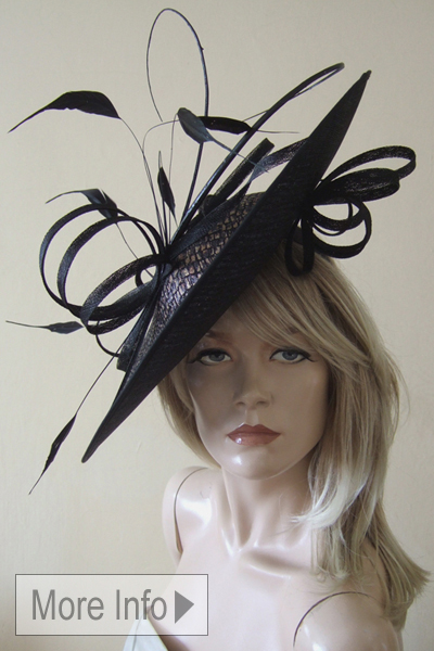 Black Bronze Croc Effect Hat Hire. Hats for Ascot, Mother of The Bride, www.dress-2-impress.com Hats for Epsom Races.