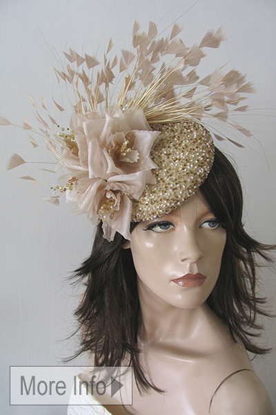 Beaded Feathers and Floral Flower Hat. Ascot Hat Hire. Hats for Royal Ascot, Hats for weddings, Mother of the Bride Hats
