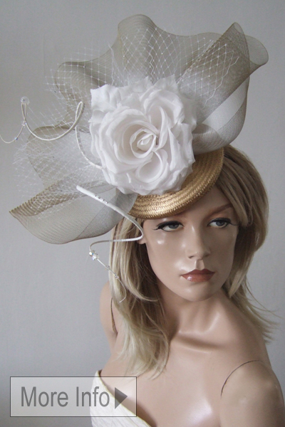 Gold Flower and Crinoline Fascinator. Ascot Hat Hire. Hats for Ascot. www.dress-2-impress.com