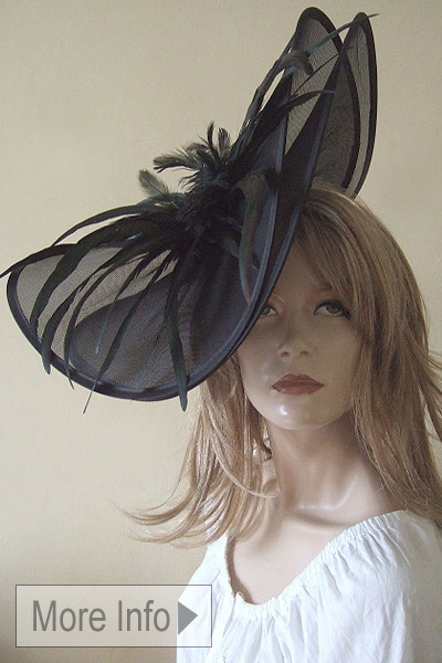 Big Black Saucer Hat for Hire. www.dress-2-impress.com Hat Hire. Ascot Hat Hire