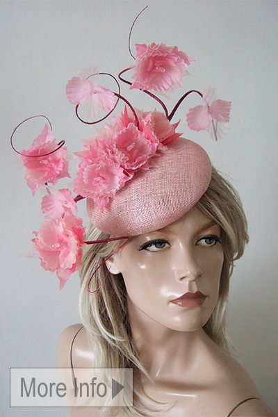 Pink Floral Headpiece Hat. Ascot Hat Hire. Mother of the Bride Hats. Hat Hire Berkshire. Pink Fascinators