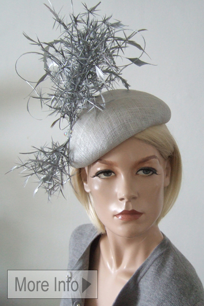 Silver Beret Hat. Royal Ascot Hats.Hats for Ascot