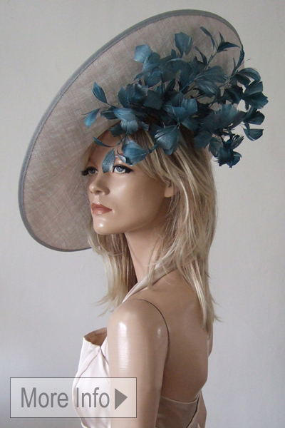 Silver Teal Metallic Feathered Slice Slice Hat. Ascot Hat Hire. Mother of the Bride Hats