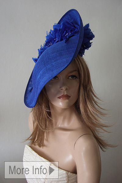Royal Blue, Cobalt Sapphire Blue Ascot Hat for Hire. Ascot Hat Hire, Hats for Royal Ascot. www.dress-2-impress.com London Hat Hire