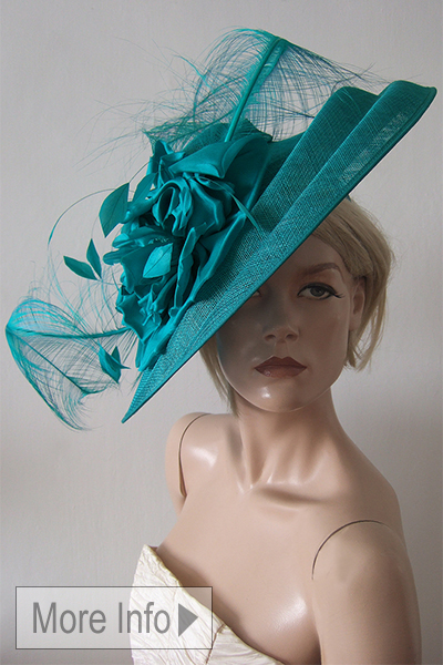 Peter Bettley Teal Silk Flower Hat for Royal Ascot. Ascot Hats. Hats for Ascot. www.dress-2-impress.com