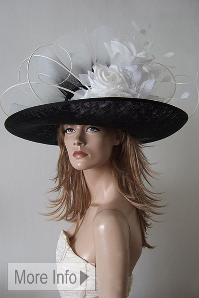 Big Black White Hat Hire for Ascot. Big Floral Hats. Hat Hire Berkshire. What to wear for Royal Ascot. What to wear to the Races.
