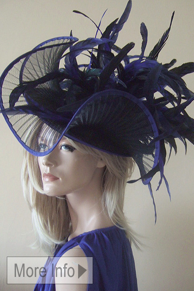 Snoxells Royal and Black Coque Headpiece Hat for Ascot. Ascot Hat Hire. Fun Hat for Royal Ascot. www.dress-2-impress.com