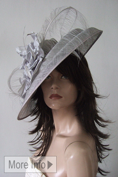 Peter Bettley Big Silver Hat. Silver Mother of the Bride Hats. Hats for Royal Ascot. Hats for Goodwood Races.