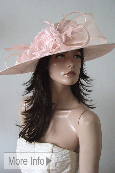 Pastel Pink Floral Mother of the Bride Hat. Pink Mother of the Bride Hat Hire. Hat Hire for Royal Ascot