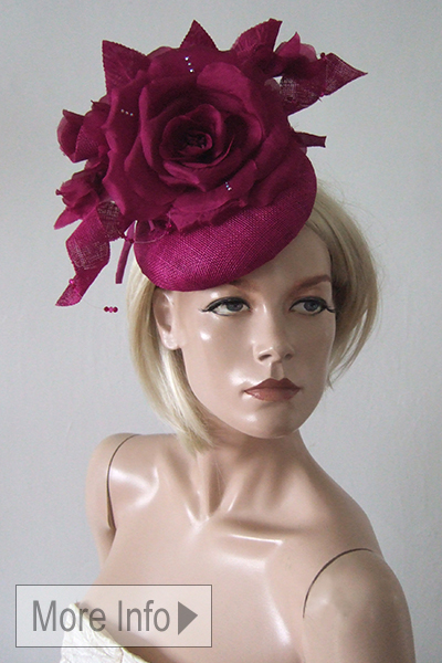 Cerise Pink, Magenta Pink Hat for Hire. Magenta Mother of the Bride Hat. Ascot Hat Hire, Pink Hats for Royal Ascot, London Hat Hire