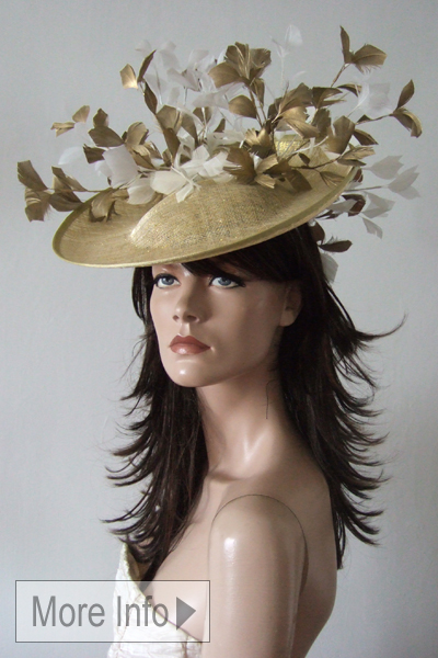 Gold White Feather Hat Fascinator. Gold Mother of the Bride Hats. Ascot Hat Hire. Hats for Ascot. www.dress-2-impress.com