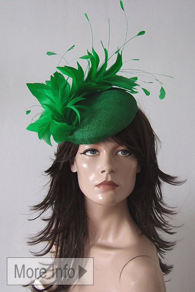 Emerald Green Headpiece Hat for Royal Ascot. Emerald green Ascot Hats. Emerald green Mother of the Bride Hat. Hats for Ascot. www.dress-2-impress.com