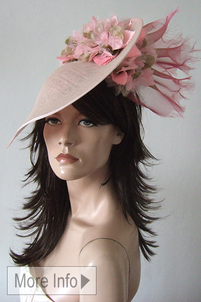 Pale Pink Ascot Hat, Pale Pink Hat for Hire. Pale Pink Mother of the Bride Hat. Ascot Hat Hire, Pink Hats for Royal Ascot, London Hat Hire