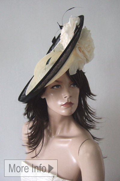 Cream and Black Hat. Royal Ascot Hats. Ascot Hat Hire. Cream and Black Mother of the Bride Hats. www.dress-2-impress.com Hat Hire near London. Ascot Hats