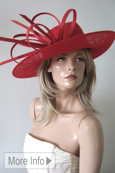 Philip Treacy Red Hats. Philip Treacy Hat Hire for Royal Ascot, Red Ascot Hats. Red Mother of the Bride Hats