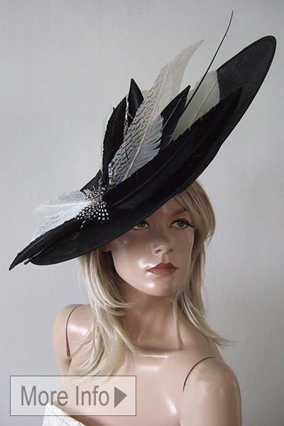 Black White Saucer Hat. Black and White Hats for Royal Ascot. Black and White Fascinator. Big Black White Hats. Mother of the Bride Hats. www.dress-2-impress.com