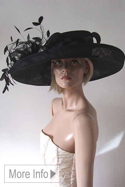 Black Large Picture Hat Hire for Ascot or Wedding. Wedding Hat Hire. Ascot Hats for Hire. Mother of the Bride Hats