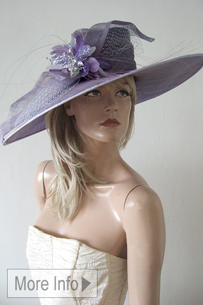 Lavender Mother of the Bride Hat for Hire, Royal Ascot Hats 2020. Mother of the Bride Hat Hire 2020. Hire Mother of the Bride hats online 2020. Big Mother of the Bride Hats 2020. Hat Hire Berkshire