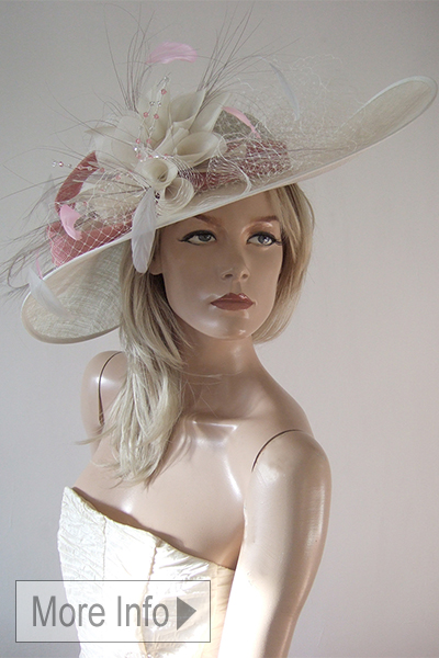 Silver and Dusty Pink Hat for Ascot. Big Hats for Royal Ascot Races 2020. Hats for Henley. Hats for Epsom Races 2020. Dusty Pink Mother of the Bride Hats 2020. Big Mother of the Bride hats 2020. Mother of the Bride Hat Hire 2020.