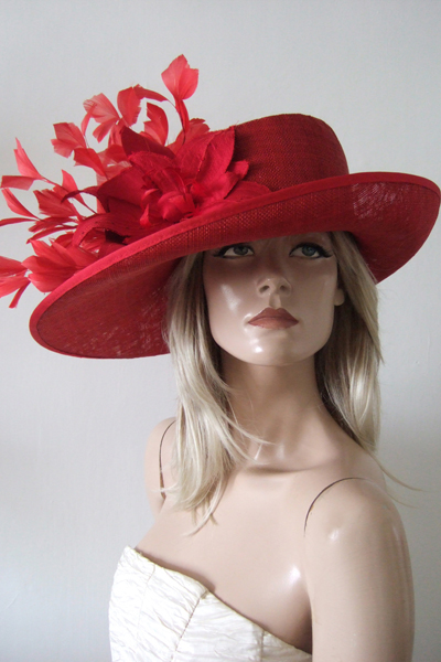 Red Feather and Silk Flower Ascot Hat Hire. London Hat Hire. Mother of the Bride Hat Hire