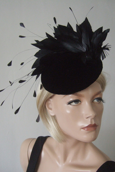 Black Hedpieces Fascinators for Hire, Beaded Velvet Cocktail Hat, Black Fascinators. www.dress-2-impress.com