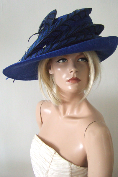 Brilliant Blue Side Sweep Hat. Ascot Hat Hire. Mother of the Bride Hats