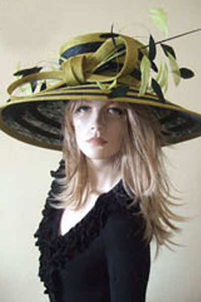 Olive Green Black Ascot Hat. Ascot Hat Hire. Big Ascot Hats