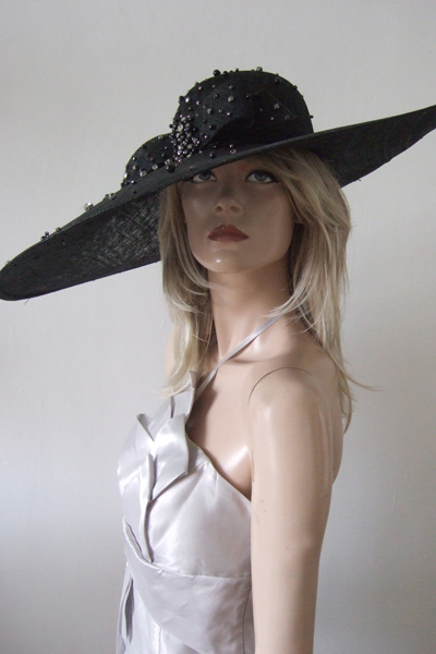 Black Diamontee Detail Big Hat. Royal Ascot Hats. Mother of the Bride Hats
