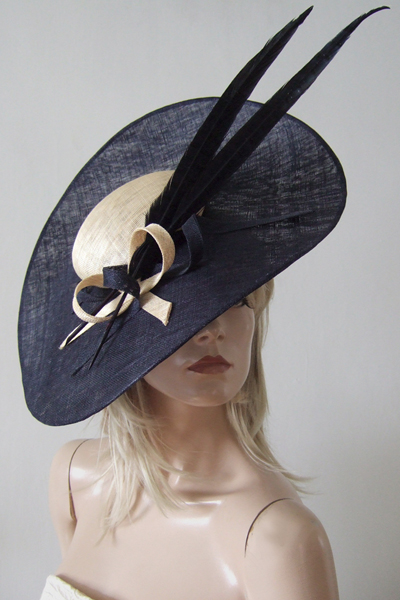 Gina Foster Regent Navy Hat. Ascot Hat Hire. Mother of the Bride Hats. London Hat Hire. www.dress-2-impress.com Hat Hire Berkshire.