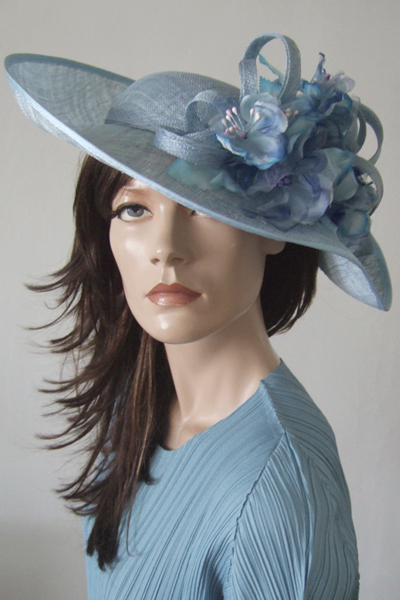 Cornflower Ice Blue Floral Ascot Hat. Ascot Hat Hire. Dress-2-Impress.com Ascot Hat Rental. Pretty Blue Hats