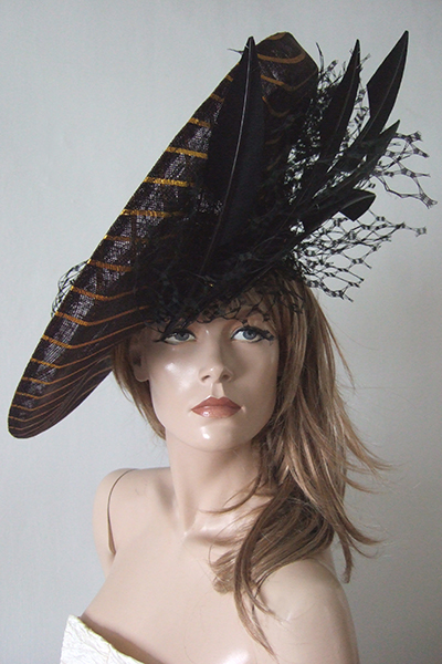 Big Jane Taylor Black Gold Designer Hat Hire for Ascot, Ascot Hat Rental. www.dress-2-impress.com