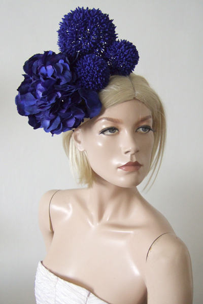 Laura Apsit Livens Hydranger Hat. Ascot Hat Hire. Fun Hat for Royal Ascot