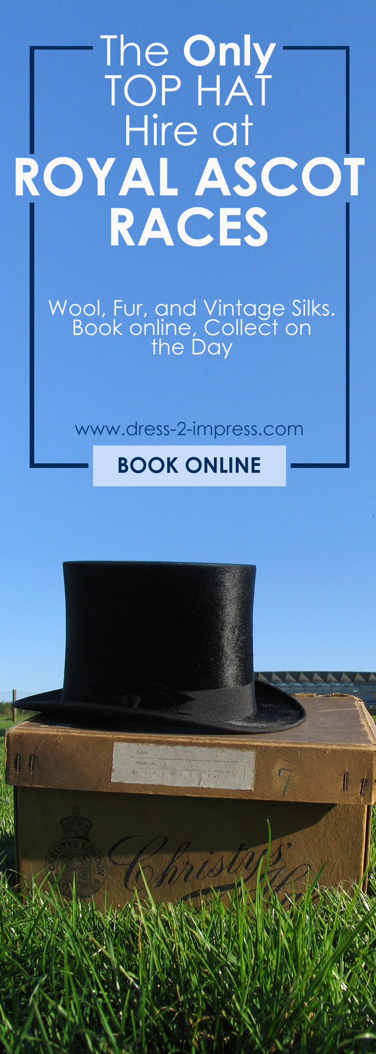 Mens Top Hat Hire. Top Hats for Ascot. Top Hats for Royal Ascot. The only Top Hat Hire at Royal Ascot Races. Wool, Fur Melusine and Vintage Silk available. Top Hat Hire for Ascot. Hats for other events, weddings, available on Mail Order. Top Hats for Royal Ascot. #tophats #hathire #formalwear #menswear