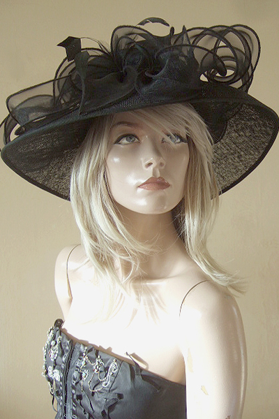 Nigel Rayment Black Organza Trimmed Hat for Ascot, Epsom. Hat for the Races. Mother of the Bride Hats