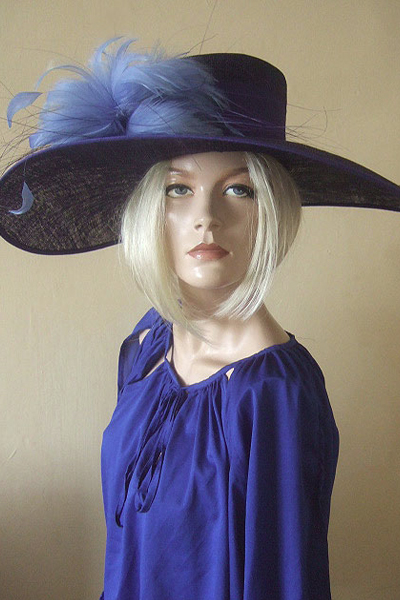 Nigel Rayment Blue Hat. Ascot Hat Hire. Mother of the Bride Hats