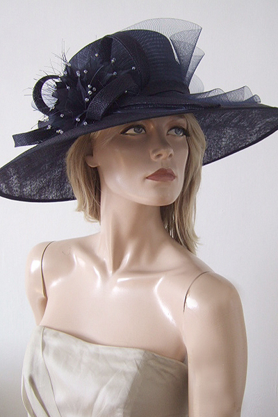 Nigel Rayment Navy Blue Hat with Crystals. Ascot Hat Hire. Mother of the Bride Hats