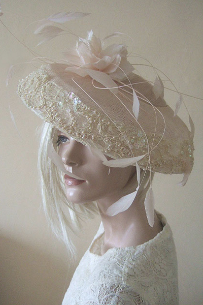 Nigel Rayment Blush Shell Pink Hat for Hire. Mother of the Bride Hats, Hat Hire Berkshire, Hats for Royal Ascot, London Hat Hire