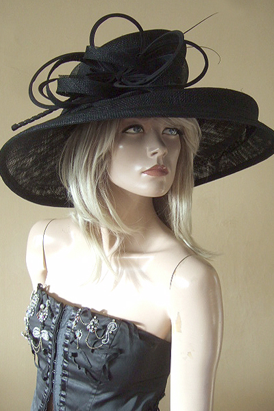 Large Black Peter Bettley Hat. Hat Hire Berkshire. Ascot Hat Hire. London Hat Hire. Berkshire Hat Hire