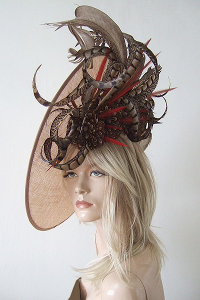 Large Pheasant Saucer Hat Fascinator Hire. Hats for Ascot. Royal Ascot Hats. Hats for the Races. www.dress-2-impress.com London Hat Hire