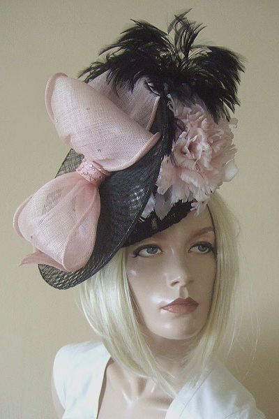 Philip Sommerville Hat. Ascot Hat Hire. Pink Black Hats. London Hat Hire