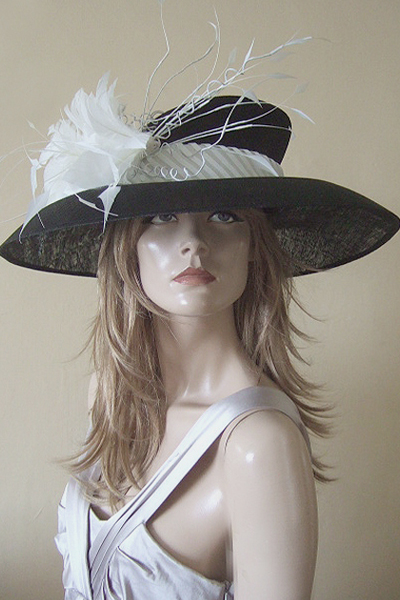 Philip Treacy Black White Hat Hire for Ascot or Other events