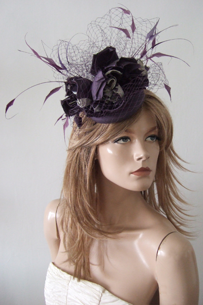 Rachel Trevor Morgan Purple Silver Flower Headpiece. Ascot Hat Hire. Purple Hats. London Hat Hire