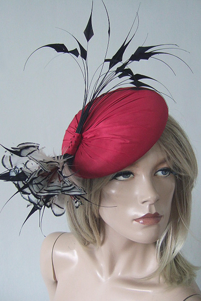 Rachel Trevor Morgan Couture Ascot Hat. Ascot Hat Hire. Black Red White Hats. London Hat Hire